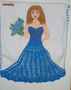 Ola meninas! Boneca nova, toalha pintada à mão com saia de crochê feita com linha Liza grossa da Circulo.