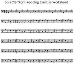 Bass Clef Sight Reading Exercise Worksheet
