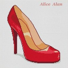 0 point de croix chaussure talon haut rouge - cross stitch red stiletto Cross Stitching, Cross Stitch Embroidery, Cross Stitch Patterns, Red Stilettos, Red High Heels, Cross Shoes, Stitches Wow, Peler Beads, Just Girl Things