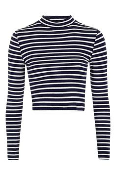We love this long sleeved navy and white striped funnel neck top with a cropped fit. Style with high waisted jeans for cool. Striped Long Sleeve Shirt, Long Sleeve Crop Top, Long Sleeve Shirts, Blue Crop Tops, Striped Crop Top, Stripe Top, Cropped Tops, Topshop Tops, Funnel Neck