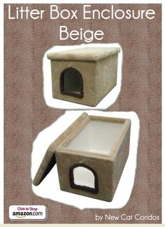 "Litter Box Enclosure - Beige by New Cat Condos - Carpeted outside and laminate inside for your cat's bathroom break. One of the easiest kitty litter boxes to clean and take care of. Easy to lift off lid Easy to clean Stain Resistant Extremely Sturdy Construction - Inside dimensions: 32""L x 19""W x 19""H Outside dimensions: 33""L x 21""W x 19""H Opening: 9""H x 8""W - Price: $119.99 -  #catlitterboxfurniture #cat #litter #box #furniture - http://www.catbedandtoy.com/cat-litter-box-furniture"