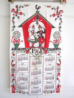 Vintage Calendar Towel 1961 by NeatoKeen on Etsy, $10.00