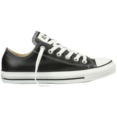 Converse Chuck Taylor All Star Low Top Leather Trainers ($75) ❤ liked on Polyvore featuring shoes, sneakers, converse, black, black shoes, leather sneakers, low tops, black sneakers e flat sneakers