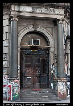 Door of old building on Bowery. NYC, New York