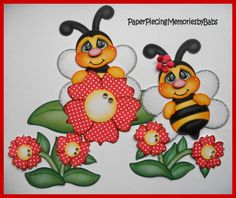 Bee set created by PAPER PIECING MEMORIES BY BABS for scrapbook pages. Pattern by Cuddly Cute Designs