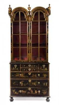 A Queen Anne Lacquered Bookcase Height 94 1/2 x width 39 1/2 x depth 20 1/2 inches. - Price Estimate: $4000 - $6000