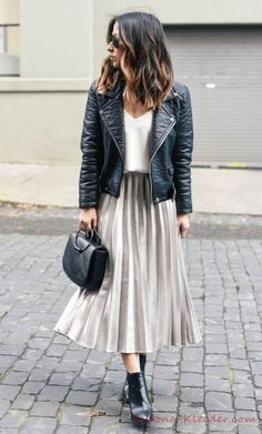 Midi skirt with leather skirt