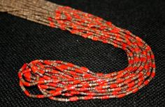 Ten Strand Brown Olivella and Red Coral Necklace, Jewelry by   Santo Domingo  $550