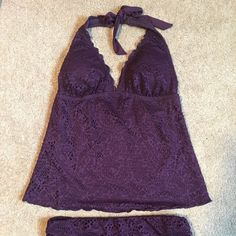 Mossimo Plum tankini swim suit NWOT...tried on, with undergarments, pulled tags off..decided I didn't like 'myself' in it...it's a beautiful plum color. Excellent condition.. smoke free home. Mossimo Supply Co Swim Bikinis