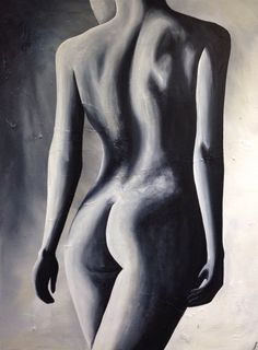 """nude from behind """"Linger"""" by Jennifer Noseworthy nude black and white acrylic painting"""