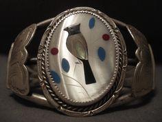Huge Huge Huge Old Zuni Bird Silver Bracelet Old Vtg Cuff