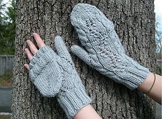 Brier Twist.  These mittens can be knit as either fingerless mitts, or convertible gloves.  Different sizes can be obtained by going up or down needles sizes.
