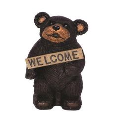 Hi Line Gift 75619-D Bears Hold Fish Welcome Sign