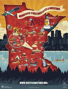 Historical map of Minnesota Minnesota Home, Minneapolis Minnesota, Minnesota Tourism, Minnesota Funny, Minnesota Historical Society, White Bear Lake, Summer Campaign, Communication Art, Travel Illustration