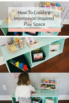 How To Create A Montessori Inspired Play Space - playroom organization- toy organization- montessori play, work station, open ended play, rotating toys, toy storage, quality play, playroom organization, montessori, fine motor skill play, oh happy play, melissa and doug, diapers.com