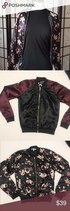 ✨🆕✨Reversible Satin Bomber Jacket Trendy Satin Bomber Jacket is Reversible to Fit Your Style and Mood! Floral on One Side, Maroon & Black on the Other Side! Like Having Two Jackets for the Price of One! Love this Jacket 😍 Jackets & Coats