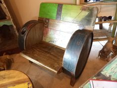 Oil drum on pinterest barrels steel and furniture for Repurposed drum shelf