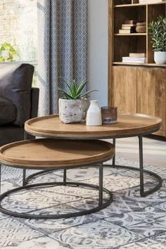 Buy Amsterdam Round Coffee Nest from the Next UK online shop Coffee Table Next, Coffee And End Tables, Coffee Table Styling, Decorating Coffee Tables, Round Nesting Coffee Tables, Nesting Tables, Table Decor Living Room, Living Room Furniture, Table Decorations