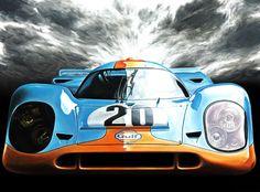 Best Porsche Inspiration : Illustration Description Porsche 917 Gulf Steve McQueen Le Mans 1970 Car Art Print Poster Hand Signed by Artist Andrea Del Pesco -Read More – Steve Mcqueen Le Mans, Sport Cars, Race Cars, Automobile, Le Mans 24, Car Illustration, Vintage Race Car, Automotive Art, Cars Motorcycles