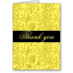 Elegant floral yellow Thank You Card #yellow #wedding #weddinginvitations #savethedate #weddings #zazzle