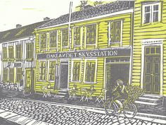 """The Best Fish Soup in Trondheim"" Original Linocut by EvelyneBouchard, via Flickr"