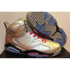 Men Nike Air Jordan 6 Valentines Day Metallic Silver Pink
