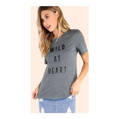 SheIn(sheinside) Distressed Wild At Heart Graphic Tee GREY (€22) ❤ liked on Polyvore featuring tops, t-shirts, grey, scoop-neck tees, gray t shirt, scoop neck t shirt, short sleeve graphic tees and cotton t shirts