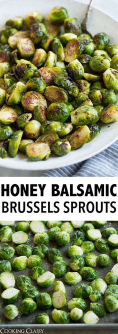 Honey Balsamic Roasted Brussels Sprouts -Roasting Brussels sprouts is the best way to cook them! It gives them a perfect browned, nutty flavor and a tender end result. And with the addition of tangy balsamic vinegar and sweet honey they're taken to a whol Honey Balsamic Brussel Sprouts, Cooking Brussel Sprouts, Roasted Sprouts, Dinner With Brussel Sprouts, Honey Roasted Brussel Sprouts, Thanksgiving Brussel Sprouts, Brussle Sprouts, Vegetable Side Dishes, Vegetable Recipes