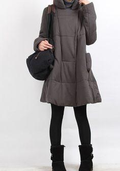 Winter single row of dark button padded Coat by MaLieb on Etsy