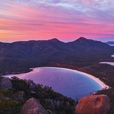 The iconic Wineglass Bay in the Freycinet National Park. #wineglassbay #tasmania #discovertasmania Image Credit: Matt Glastonbury