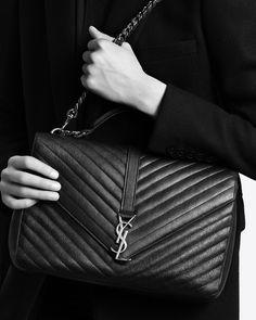 44f56618d6 large collège bag in black matelassé leather