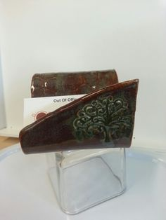 Holder for business cards, cell phone or soap by Out of Office Pottery Studio - Highland Village TX