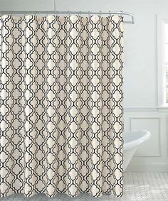 Sally Textiles Off White Black Faux Silk Shower Curtain