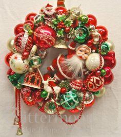 vintage wreath...shiny brites and vintage decorations