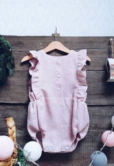 Pretty Handmade Linen Button Front Baby Romper | LaPetitePersonneShop on Etsy