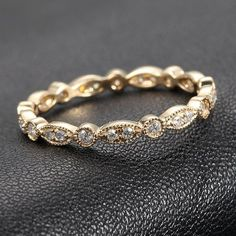Affordable and Super Cute Art Deco Antique Style .32ct Diamond Milgrain 14K Yellow Gold Wedding Band Ring on Etsy, $199.00