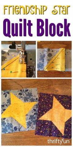 This is a guide about making a friendship star quilt block. The friendship star is a traditional quilt block composed of half square triangle blocks and squares using two different fabrics.