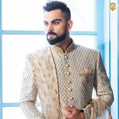 These elegant sherwanis from the add the right amount of finesse to every occasion. Look 1 is an intricate pistachio green… Sherwani For Men Wedding, Wedding Dresses Men Indian, Sherwani Groom, Indian Wedding Wear, Punjabi Wedding, Indian Weddings, Engagement Dress For Groom, Wedding Outfits For Groom, Groom Wedding Dress