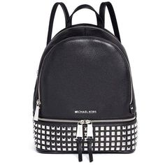 Michael Kors 'Rhea' small stud leather backpack (1.040 BRL) ❤ liked on Polyvore featuring bags, backpacks, handbags, accessories, black, genuine leather bags, leather bags, real leather backpack, day pack backpack and michael kors backpack