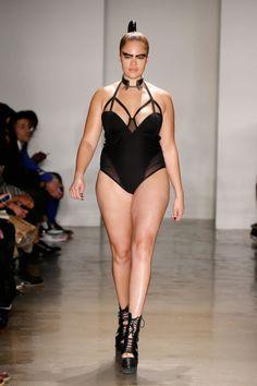 in the Chromat Venus Satin Bodysuit Olivia Campbell, Plus Size Shopping, Curvy Models, Nice Legs, Fall Winter 2015, Catwalk, Bodysuit, Victoria Secret, One Piece