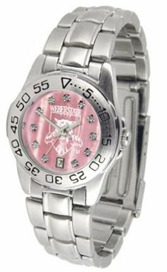 Weber State Wildcats Ladies Sport Watch with Steel Band and Mother of Pearl Dial by SunTime. $73.80. Scratch Resistant Face. Calendar Date Function. Rotation Bezel/Timer. This handsome, eye-catching watch comes with a stainless steel link bracelet. A date calendar function plus a rotating bezel/timer circles the scratch resistant crystal. Sport the bold, colorful, high quality Weber State Wildcats logo with pride.The hypnotic iridescence of our natural blush mother of pe...
