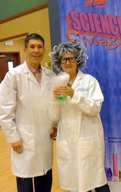 """My and my """"sister"""", Professor GeRoy, at Lake Tapps Elementary.  If her hair is any indication, I'll have a lot more gray soon, too.  This science stuff is tough on the hair!  Students are now very excited to participate in the upcoming science fair :-)"""
