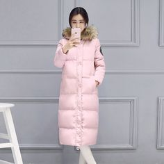 49.87$  Watch now  - In Europe and the United States long sleeve hooded over-the-knee extended warm comfortable cotton coat