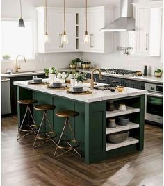a black and white kitchen with a dark green kitchen island that adds color to. 12 a black and white kitchen with a dark green kitchen island that adds color to. - a black and white kitchen with a dark green kitchen island that adds color to. Green Kitchen Cabinets, Diy Kitchen, Green Kitchen Island, Dark Cabinets, Dark Green Kitchen, Kitchen Backsplash, Kitchen White, Kitchen Countertops, Floors Kitchen