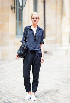 the half-tuck and slouchy trousers | photo: Style Du Monde | 15 Ways To Look Cool Instantly via @WhoWhatWear