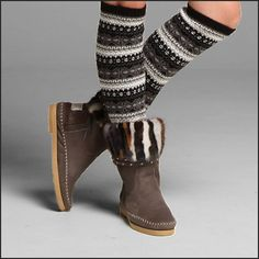 Karma of Charme , the Muk patchwork.. we love these boots with nice stockings
