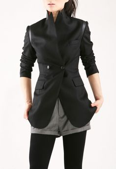 Image of Classic black jacket with leather - Style 19