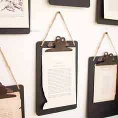 "This set of 6 reproduction vintage clipboards is a great way to create a wall artwork or hang in an Urban Farmhouse office design to organize notes. - Dimensions: 6""wide x 9""tall - Color: Black - Set of 6"