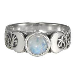 Amazon.com: Triple Crescent Moon Goddess Rainbow Moonstone Ring Sterling Silver Wicca Pagan Jewelry (sz 4-15): Jewelry
