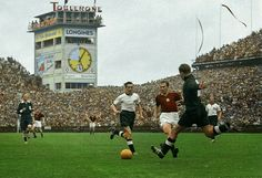 West Germany 3 Hungary 2 in 1954 in Bern. German keeper Toni Turek kicks the ball to safety in the World Cup Final.